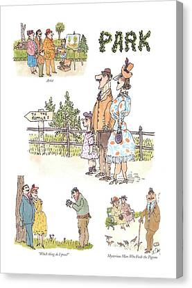 Artist  Which Thing Do I Press?   Mysterious Man Canvas Print by William Steig