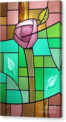 Arts And Crafts Rose Canvas Print by Gilroy Stained Glass