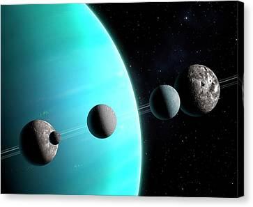 Uranus Canvas Print - Artwork Comparing The Moons Of Uranus by Mark Garlick