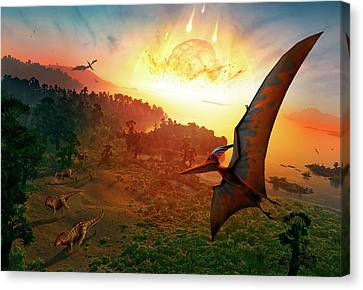Parasaurolophus Canvas Print - Artwork Depicting Extinction Of Dinosaurs by Mark Garlick