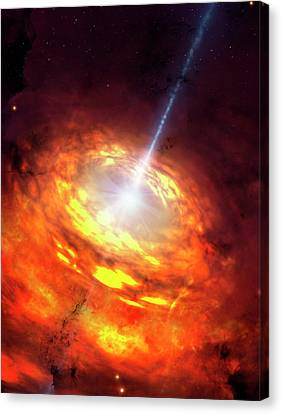 Artwork Of An Active Galactic Nucleus Canvas Print by Mark Garlick