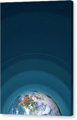 Artwork Of Earth's Atmospheric Layers Canvas Print by Mark Garlick