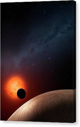 Artwork Of Exoplanet Kepler 62f Canvas Print by Mark Garlick