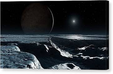 Artwork Of Pluto Seen From Charon Canvas Print by Mark Garlick