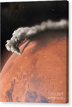Terrestrial Canvas Print - Artwork Of Supervolcano Erupting On Mars by Mark Garlick