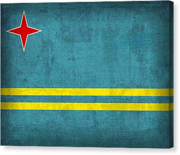 Aruba Flag Vintage Distressed Finish Canvas Print by Design Turnpike