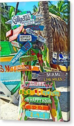 Aruba Fun Signs Canvas Print by Caroline Stella