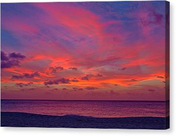 Canvas Print featuring the photograph Aruba Sunset by Jemmy Archer