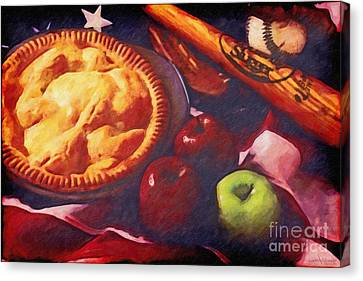 As American As Baseball And Apple Pie Canvas Print by Lianne Schneider