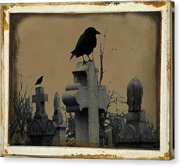 Birds In Graveyard Canvas Print - Dark Aged Crow Graveyard by Gothicrow Images