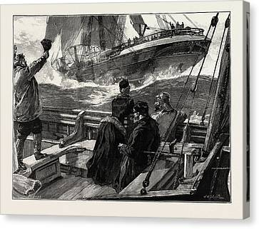 As The Clipper Stormed Canvas Print by Overend, William Heysham (1851-1898), British