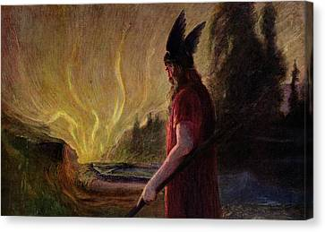 As The Flames Rise Odin Leaves Canvas Print by Hermann Hendrich