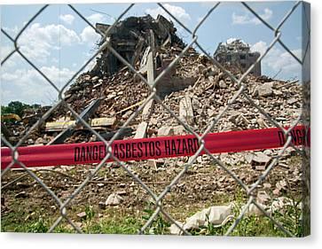 Asbestos Demolition Hazard Warning Canvas Print by Jim West