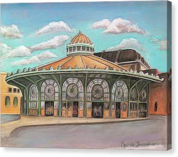 Canvas Print featuring the painting Asbury Park Carousel House by Melinda Saminski