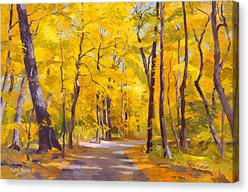 Ash Trees At Fall In The Morton Arboretum Canvas Print