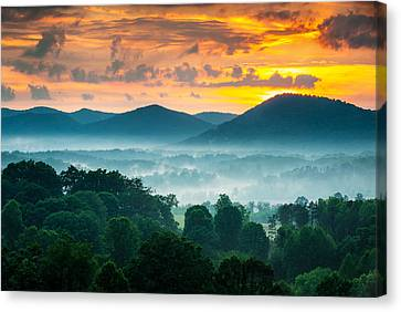 Dave Allen Canvas Print - Asheville Nc Blue Ridge Mountains Sunset - Welcome To Asheville by Dave Allen