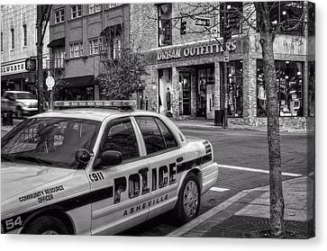 Asheville Pd Car 54 In Black And White Canvas Print by Greg and Chrystal Mimbs