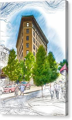 Ashevilles Flat Iron Building Canvas Print by John Haldane