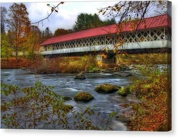 Fall Scenes Canvas Print - Ashuelot Covered Bridge 2 by Joann Vitali