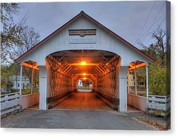 Fall Scenes Canvas Print - Ashuelot Covered Bridge by Joann Vitali