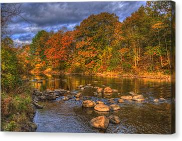 Ashuelot River In Autumn - New Hampshire Canvas Print by Joann Vitali