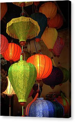 Hand Crafted Canvas Print - Asia, Vietnam Colorful Fabric Lanterns by Kevin Oke