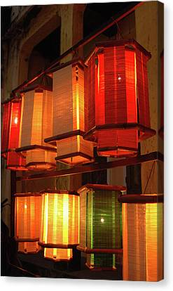 Hand Crafted Canvas Print - Asia, Vietnam Fabric Lanterns, Hoi An by Kevin Oke