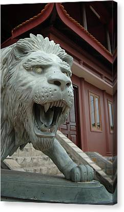 Asia, Vietnam Lion Sculpture At Chau Canvas Print by Kevin Oke