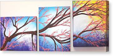 Asian Bloom Triptych Canvas Print by Darren Robinson