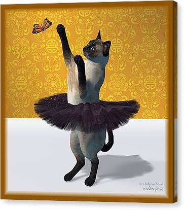 Asian Design Blue Siamese Ballet Cat On Paw-te  Canvas Print by Andre Price