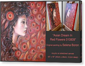 Canvas Print featuring the painting Asian Dream In Red Flowers 010809 Comp by Selena Boron