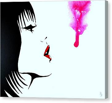 Asian Female Drip Art Canvas Print by Bob Baker