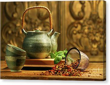 Asian Herb Tea Canvas Print by Sandra Cunningham