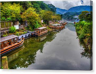 Asian Pleasure Boats Wait On The River Hozu In Japan Canvas Print