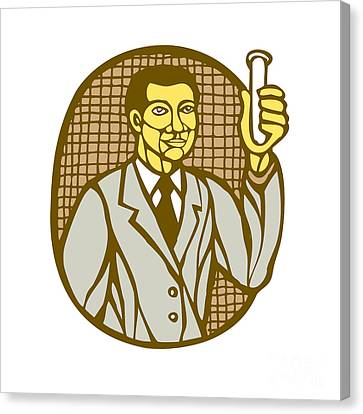 Asian Scientist Test Tube Woodcut Linocut Canvas Print by Aloysius Patrimonio