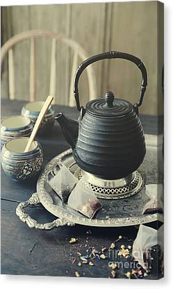 Canvas Print featuring the photograph Asian Teapot With Cups And Herbal Bags Of Tea by Sandra Cunningham