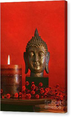 Asian Theme With Candle  Canvas Print by Sandra Cunningham