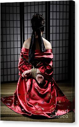 Blindfold Canvas Print - Asian Woman With Her Hands Tied Behind Her Back by Oleksiy Maksymenko