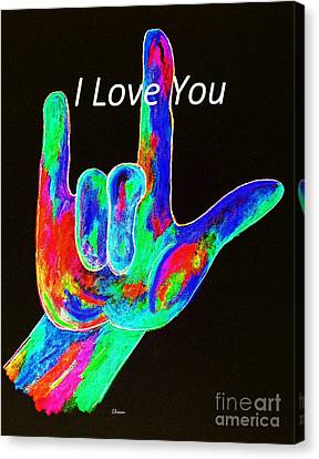 Asl I Love You On Black Canvas Print by Eloise Schneider