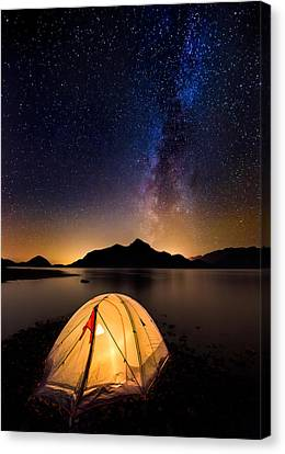 British Columbia Canvas Print - Asleep Under The Milky Way by Alexis Birkill