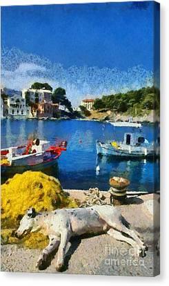 Fishing Canvas Print - Asos Village In Kefallonia Island by George Atsametakis