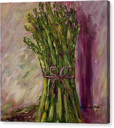 Asparagus Wrapped In A Bow Canvas Print by Barbara Pirkle