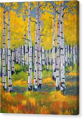 Canvas Print featuring the painting Aspen Color by Nancy Jolley
