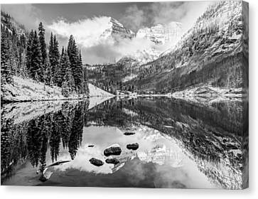 Aspen Colorado's Maroon Bells In Black And White Canvas Print by Gregory Ballos