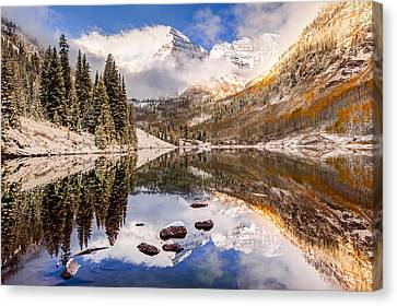 Aspen Colorado's Maroon Bells With Rocks Canvas Print by Gregory Ballos