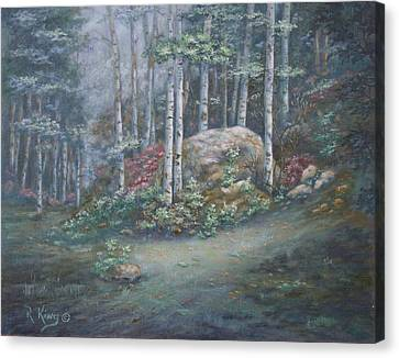 Canvas Print featuring the painting Aspen Grove by Roena King