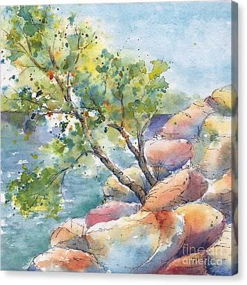 Aspen On The Rocks Canvas Print by Pat Katz