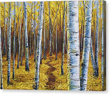 Canvas Print featuring the painting Aspen Trail by Aaron Spong