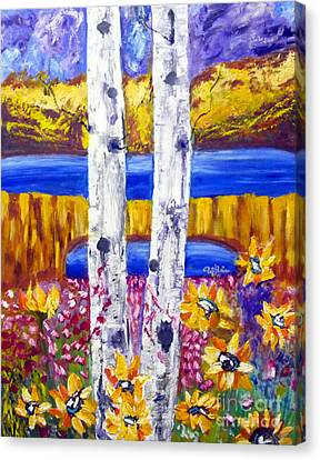 Tolan Canvas Print - Aspen Tree And Sun Flower by To-Tam Gerwe