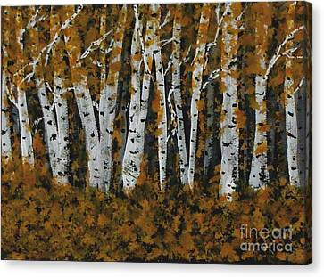 Aspen Trees Ablaze Canvas Print